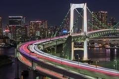 Tokyo Rainbow Bridge (kbaranowski) Tags: ©2014krzysztofbaranowski night tokyo japan bridge rainbowbridge 2018 lighttrails cityscape