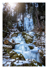 Frozen Waterfall. (icarium82) Tags: dawn canoneos5dsr snow nature landscape winter sigma24105mmf4dgoshsmart analogefex landschaft schnee sonnenaufgang rocks trees frozenwaterfall blauenthalerwasserfall log framed erzgebirge gefrorenerwasserfall ice eis