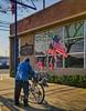 I'M A YANKEE DOODLE DANDY (akahawkeyefan) Tags: bicycle flags us davemeyer kingsburg postoffice man patriot truebeliever