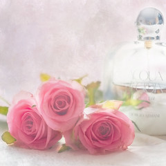 Gift to a woman. (BirgittaSjostedt) Tags: rose parfume closeup card giftcard flower bottle soft beauty acqua armani sensual scent fragrance birgittasjostedt still stilllife