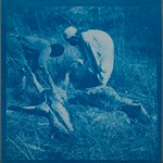 Gunbearer and soldier removing the skin of hyenas poisoned with strychnine. ; Blue copy. thumbnail