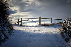 Where there is light there is hope .... (Missy Jussy) Tags: gate light sunlight fence farmland sky bluesky clouds hedgerow drystonewalls shadows lane dogwalk outdoor outside countryside newhey rochdale landscape lancashire england beastfromtheeast canon canon5dmarkll canon70200mm ef70200mm ef70200mmf4lusm 70200mm