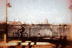 Happy ending (heinrich_511) Tags: cologne city structure texture thoughts love heart bridge back never alone bike abstract train