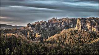 Der Blick auf den Talwächter und zur Bastei
