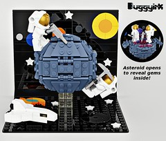 1 - LEGO Ideas - The First Asteroid Mine (buggyirk) Tags: space astronaut asteroid minerals gems gemstones astronauts exploration sun earth venus mercury moon nebula black hole rendered render shuttle ship lego ideas moments contest scifi science fiction spaceship vignette toy toys
