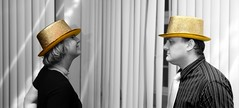 Hat to hat (Yacenty) Tags: gold goldenhat party man woman people hat img2780
