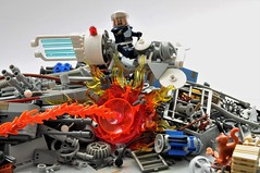 District 18 - Surprise Attack (Inthert) Tags: lego district 18 junkyard scrap rubbish junk bike speeder lsb moc ring cricle police abide rebel enforce