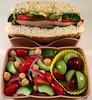 Roasted Veggie Sandwich Bento (Cathryn3) Tags: bento lunch sandwich portobello mushroom redbellpepper broccoli grapes tomato cucumber redonion chickpeas