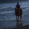 blue on blue (sheila swindell) Tags: ocean waves sea horse animal water footprints people cop policeman law officer bluehour sand surf dusk twilight
