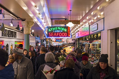 Sunday at Pike Place (s.d.sea) Tags: pike place market seattle washington washingtonstate pentax k5iis 2470mm seafood signs shopping shoppers street photography crowd