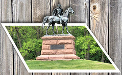 wayne-3D (Jen_Vee) Tags: photoshop manipulation shapes vector raster generalwayne statue park summer grass trees plants bronze granite horse monument wood backgrounds corelpaintshop valleyforge outofbounds outofframe layers tree
