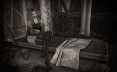 The Waiting Game (Trixie Pinelli) Tags: unitedcolors uc uber gos tram foxcity kustom9 k9 bw blackwhite sl mesh maitreya lelutka greer bento fashion apparel shopping decor furniture avatar lumipro photography time clock elysion secondlife blonde blogger model pose