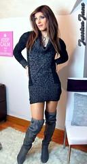 Jumper Dress & Boots (jessicajane9) Tags: tg crossdress transvestite feminization lgbt m2f transgender tgurl cd travesti boots tranny crossdressing tgirl trans crossdresser tv xdress