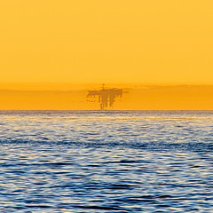 Inverted Superior Mirage of a Ship at Sea (tltichy) Tags: lajolla beach blue boat california coast fatamorgana inverted mirage morning ocean pacific sandiego ship silhouette socal southerncalifornia sunrise superior upsidedown water waves yellow