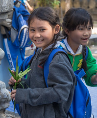 Smiling girls (Never.Stop.Searching.) Tags: burmese watpapao chiangmai temple thailand people kids