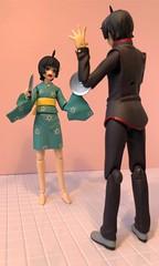 """Don't Sneak Up On Me!!!"" (Sasha's Lab) Tags: tsukihi araragi 阿良々木 月火 koyomi knife pot lid scared angry teen girl boy figma action figure jfigure gsc toy"