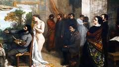 Courbet, The Studio, detail with Alfred Bruyas (facing left, red beard) and Pierre-Joseph Proudhon behind him