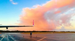 Bye bye (evakongshavn) Tags: byebye airport airplane skyandclouds sky new light yellow yellowlight orange orangelight pastel pastelclouds cloud clouds cloudsky sunrise sunset colorful colourful