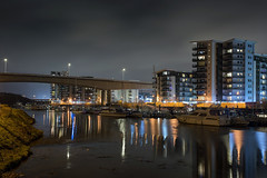 Boats bedtime (Roger.C) Tags: water waterfront harbour marina penarthmarina cardiff cardiffbay reflections apartments flats buildings architecture bridge southwales wales walesnikon wfc city cityscape afterdark night nightshot longexposure boats nikon d610 35mm lovesthediff