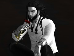 Love the rose and all it's thorns... (Markthedark SL) Tags: bw blacknwhite dark sl second life bnw monochrome