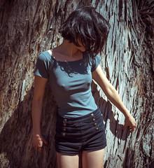 Zak Ato (beemjessie) Tags: select shirt tree trunk woman asian beauty shorts nude