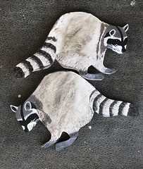 Raccoons await varnish (checkered demon) Tags: animals painting acrylic plywood recycling art raccoons
