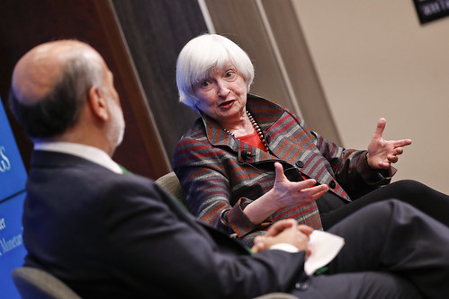 Former Fed Chair Janet L. Yellen is now a Distinguished Fellow in Residence in the The Hutchins Center on Fiscal and Monetary Policy, Economic Studies program.
