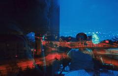 conversation (Elif Mercan) Tags: outdoor cafe coffee doubleexposure doubleexposurephotography doubleexposurephoto blue cyan red light lights citylights road evening