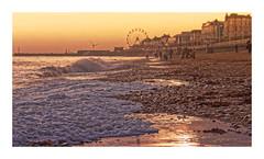 Tide & Time (Myrialejean) Tags: tide sea beach seaside winter water waves sand bridlington coast harbour yorkshire sunset golden evening reflections wheel sky eastcoast eastriding