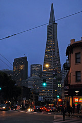pyramid at dusk (BehindBlueEyes) Tags: california ca sanfrancisco urban night street transamericapyramid