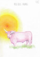 Red bull fading. (Klaas van den Burg) Tags: redturnspink sunny humor sarcasm absurd pencils color