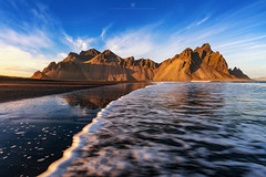 Waves (Alexander Lauterbach Photography) Tags: stokksnes vestrahorn iceland goldenhour sunset ocean waves water travel landscape sony a7r