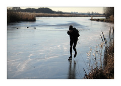 Skating Adventures (YIP2) Tags: winter landscape dutchlandscape water serene cold nature weather tree trees ice iceskating skating schaatsen ijs skater mill winterlandscape tourskating sport holland zuidholland dutch winterscene winterdreams fence