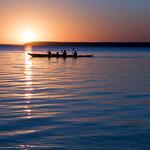Two kayaks at sunset, Waskesiu Lake, Prince Albert National Park thumbnail