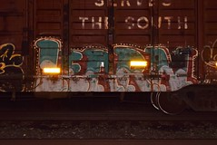 LEARN (TheGraffitiHunters) Tags: graffiti graff spray paint street art colorful freight train tracks benching benched night time learn boxcar