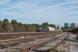 Norfolk Southern stack train southbound on the Greenville District
