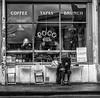 coffee life (Daz Smith) Tags: dazsmith fujixt20 fuji xt20 andwhite bath city streetphotography people candid portrait citylife thecity urban streets uk monochrome blancoynegro blackandwhite mono coffeeshop woman window reflections bristol