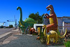Holbrook, Arizona (oybay©) Tags: railroadtracks railroadcrossing dinosaur holbrook arizona sky summer surreal roadtrip route66 rock shop az pams pics southwest roadside jurassic attraction tacky kitsch schlock route 66 mother road i40 nikon d3300 statue