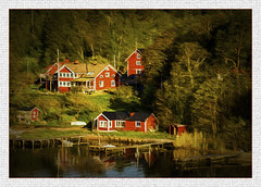 The Archipelago's(Sweden) (williamwalton001) Tags: sweden trees texture timber woodlands water wood windows borders buildings boats pentaxart red trolled