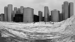 Fleischmann Vinegar Tank Farm (rochpaul5) Tags: panorama vinegar tanks acetic apple cider monochrome black white bw vats winter ny new york farm