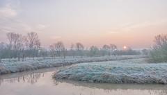Winter Sunrise (Martine Lambrechts) Tags: winter sunrise nature landscape morning waterway tree frost