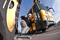 Leo Valls one foot powerslide (marzo ph.) Tags: leo valls one foot powerslide huntingtonbeach ca danielemarzocchimarzophnikond700 skate skateboarding skateboard magenta magentaskateboards dc dcshoes california usa france french italy italia schoolbus yellow fisheye