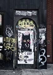 Chelsea street art, February 2018 (Benzadrine) Tags: streetart door nyc manhattan newyorkcity tinman needle wheatpaste paste up poster gothamist