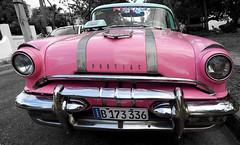 Pretty Pink Pontiac (Poocher7) Tags: car automobile classiccars 1950s beautifuloldcars americancars pink prettypink pinkcars taxi cab pontiac pinkpontiac convertible pinkconvertible havana cuba carribean sundaylights selectivecolour isolatedcolour monochrome blackandwhite