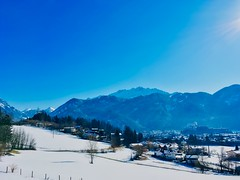 Winter view of Kufstein and The Alps in Tyrol, Austria (UweBKK (α 77 on )) Tags: winter view scenery landscape alps river inn valley snow cold sky blue white austria österreich tyrol tirol europa europe iphone mountains
