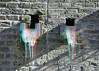 Spuwers Oudegracht Utrecht 3D (wim hoppenbrouwers) Tags: spuwers oudegracht utrecht 3d anaglyph stereo redcyan ice ijs pegels ijspegels wall muur kade gargoyles gargoyle