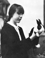Student with her precious Bunny Rabbit at Presentation High School in San Francisco, CA 1967 (PatricksMercy) Tags: rabbit bunny cute furry