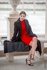 Red and Black (oshcan) Tags: model girl portrait longwoodgardens pennsylvania winter fashion nikon d4s 85mm14