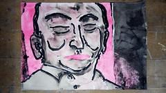 Menschen aus dem Fernsehen - der Gutachter (raumoberbayern) Tags: acryl acrylic stilllife stilleben naturemorte pink black schwarz noir sketchbook skizzenblock malerei painting robbbilder portrait tv fernsehen ink tusche