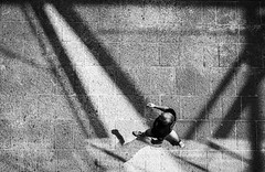 view from above.. (ckollias) Tags: blackandwhite blackandwhitephotography bwcollection bwphotooftheday bwsworldwide day fulllength highangleview oneperson outdoors people realpeople shadow street streetphotography streetphotobw sunlight walking walkingalone